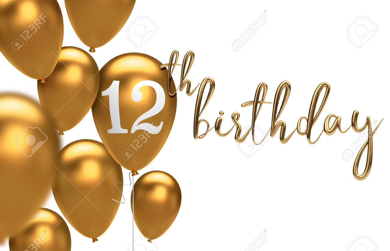 Gold Happy 12th Birthday Balloon Greeting Background 3D Rendering Stock Photo