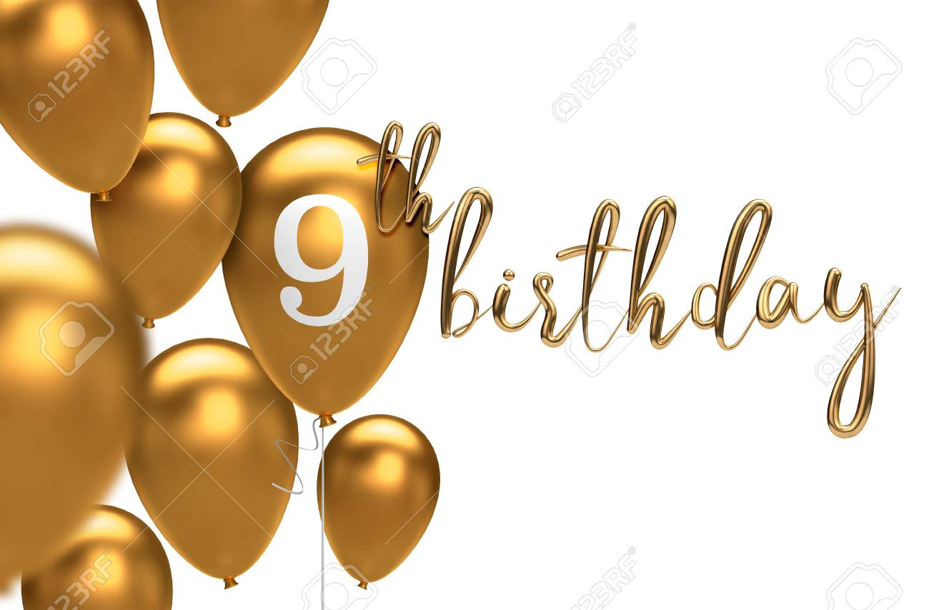 Gold Happy 9th Birthday Balloon Greeting Background 3D Rendering Stock Photo
