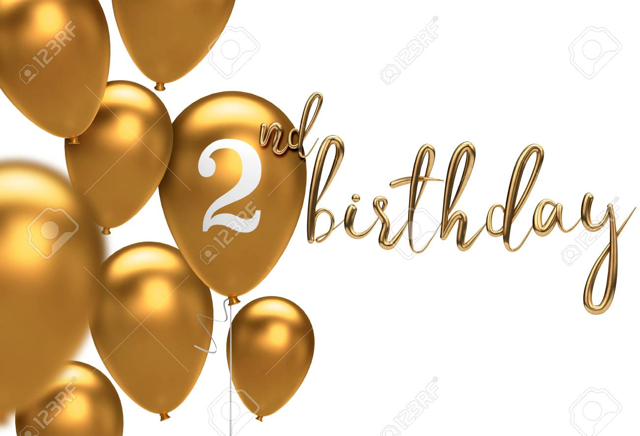 Gold Happy 2nd Birthday Balloon Greeting Background 3D Rendering Stock Photo