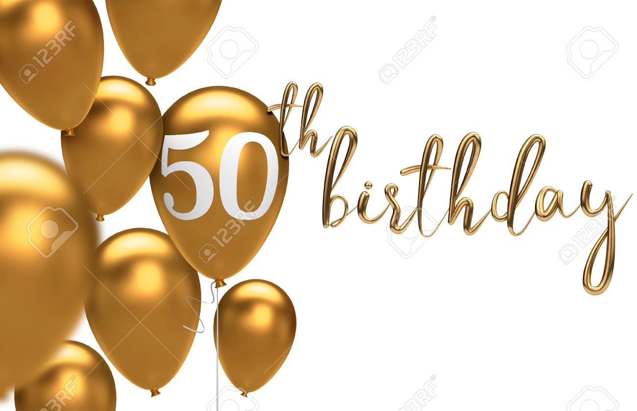 Gold Happy 50th birthday balloon greeting background. 3D Rendering - 106089460