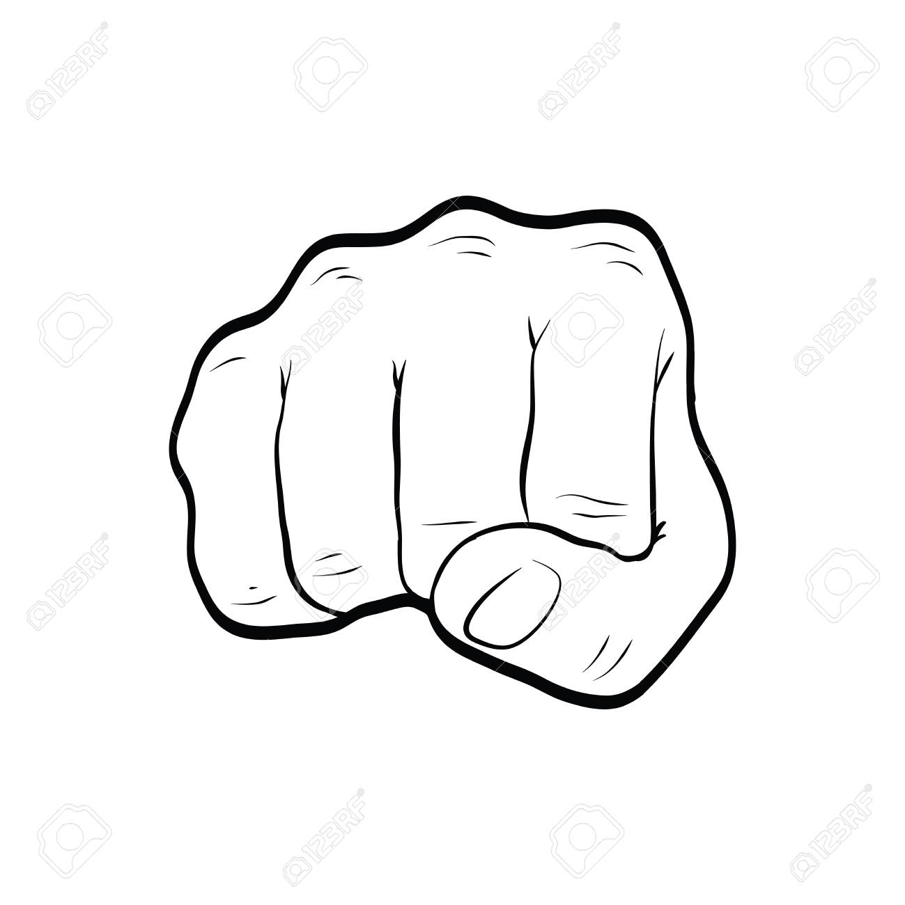 Fist Punch Hand Gesture Line Art Outline Stock Photo Picture And Royalty Free Image Image 106708969