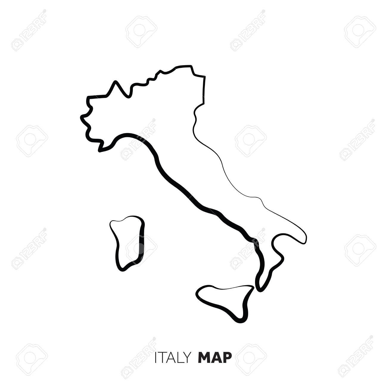 Black And White Map Of Italy.Italy Vector Country Map Outline Black Line On White Background