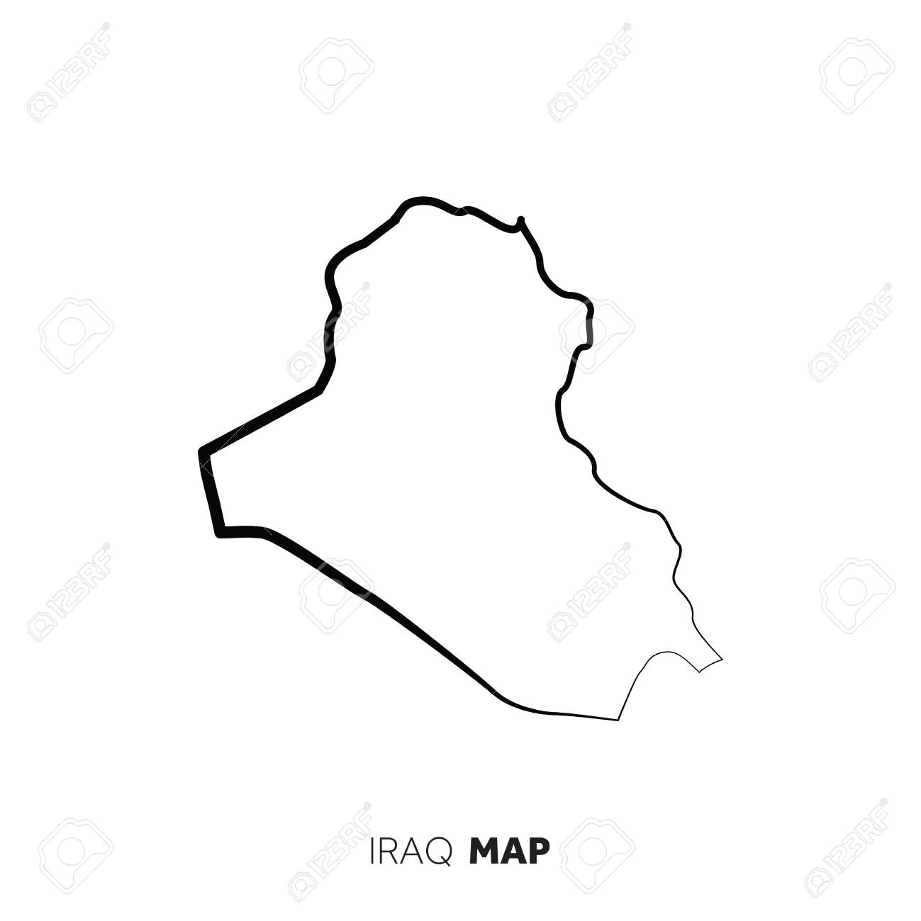 Iraq vector country map outline  Black line on white background