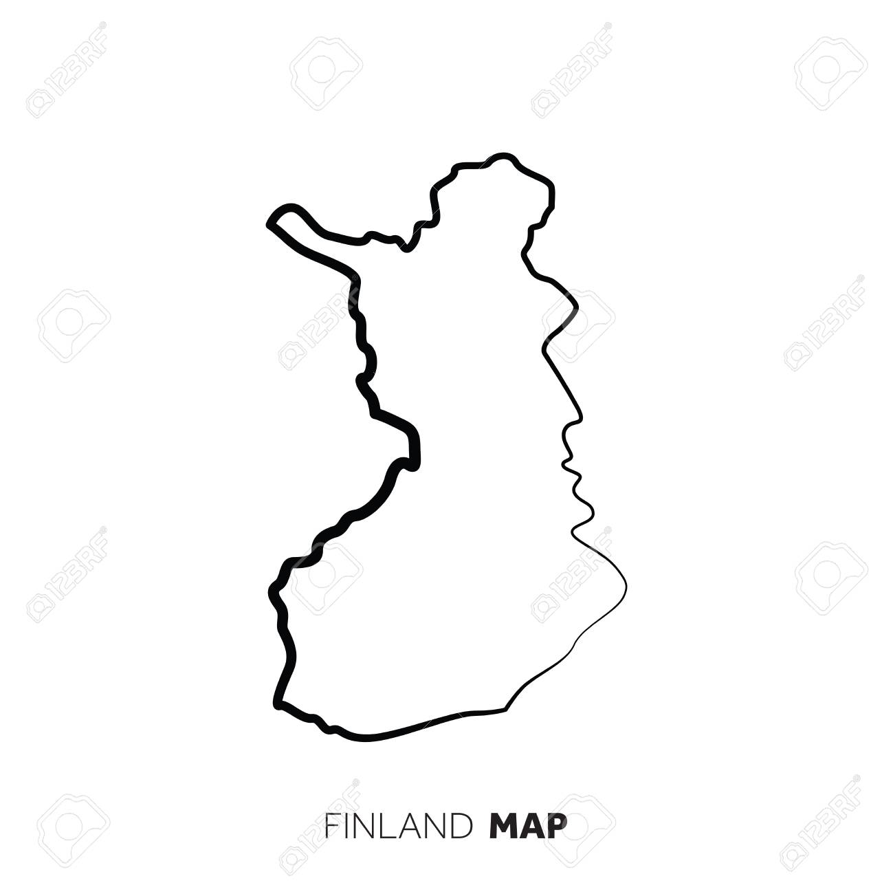 Finland vector country map outline. Black line on white background