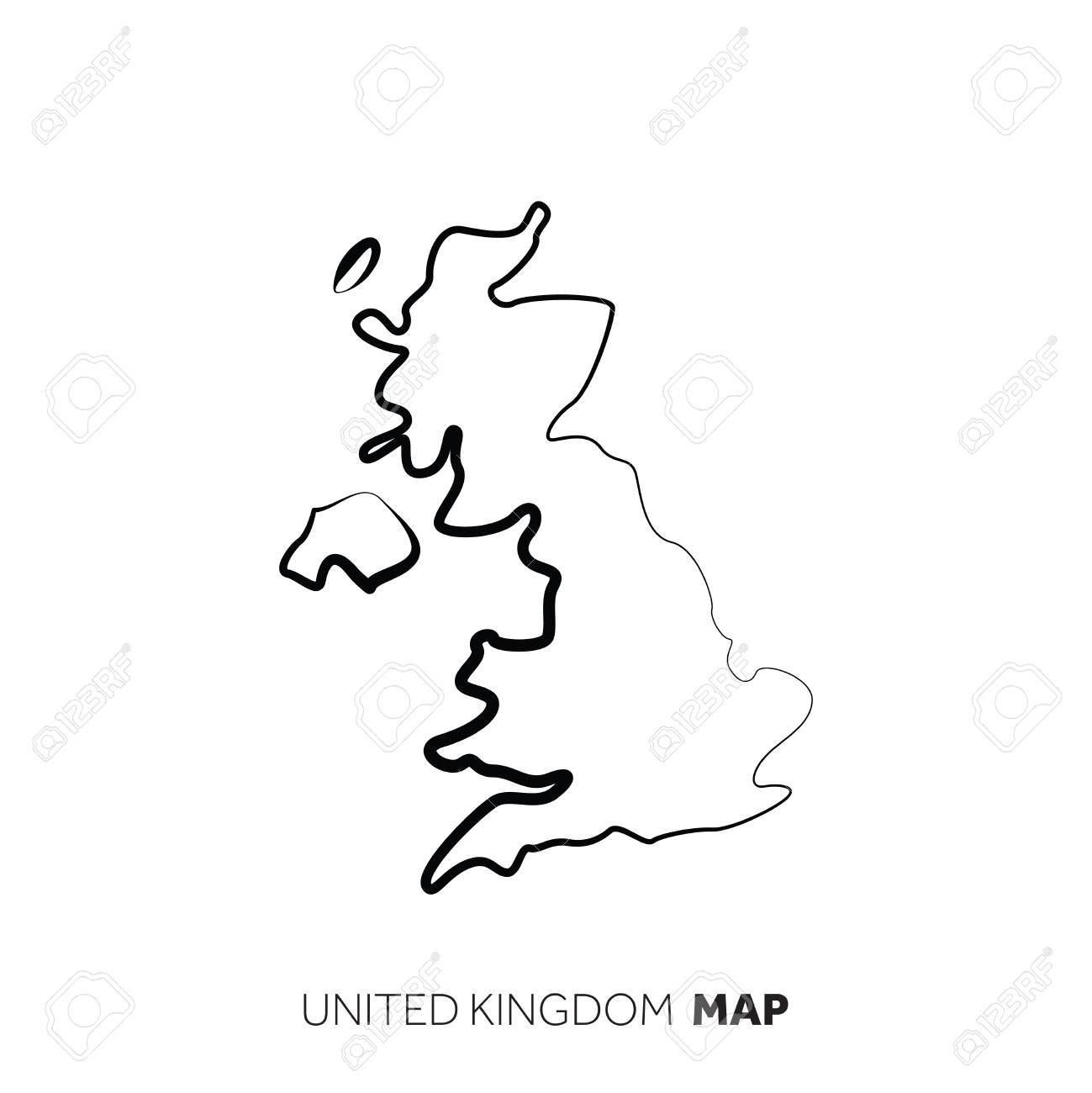 Map Of Uk Black And White.United Kingdom Vector Country Map Outline Black Line On White