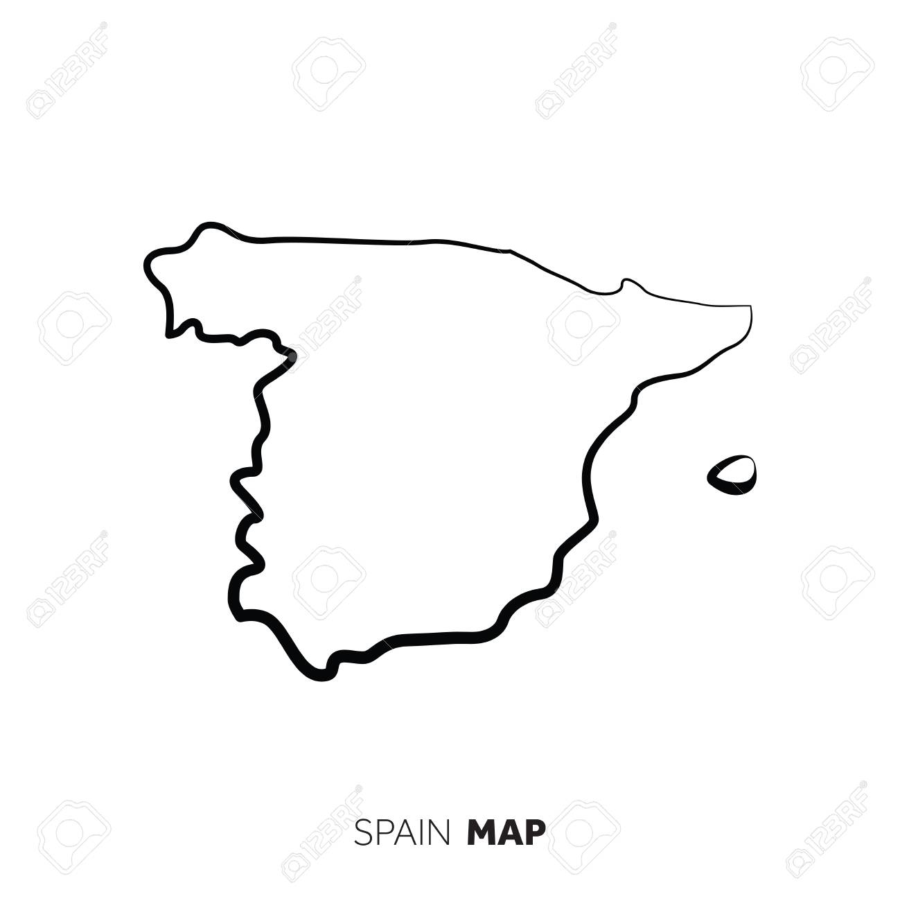 Spain Vector Country Map Outline Black Line On White Background