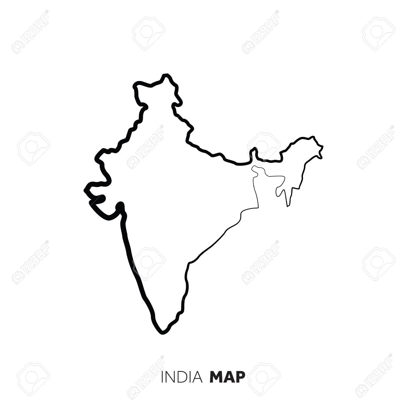 India vector country map outline. Black line on white background