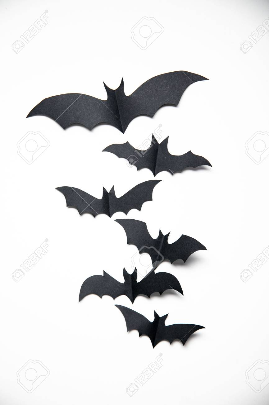 Halloween Paper Bat Decorations On A White Background