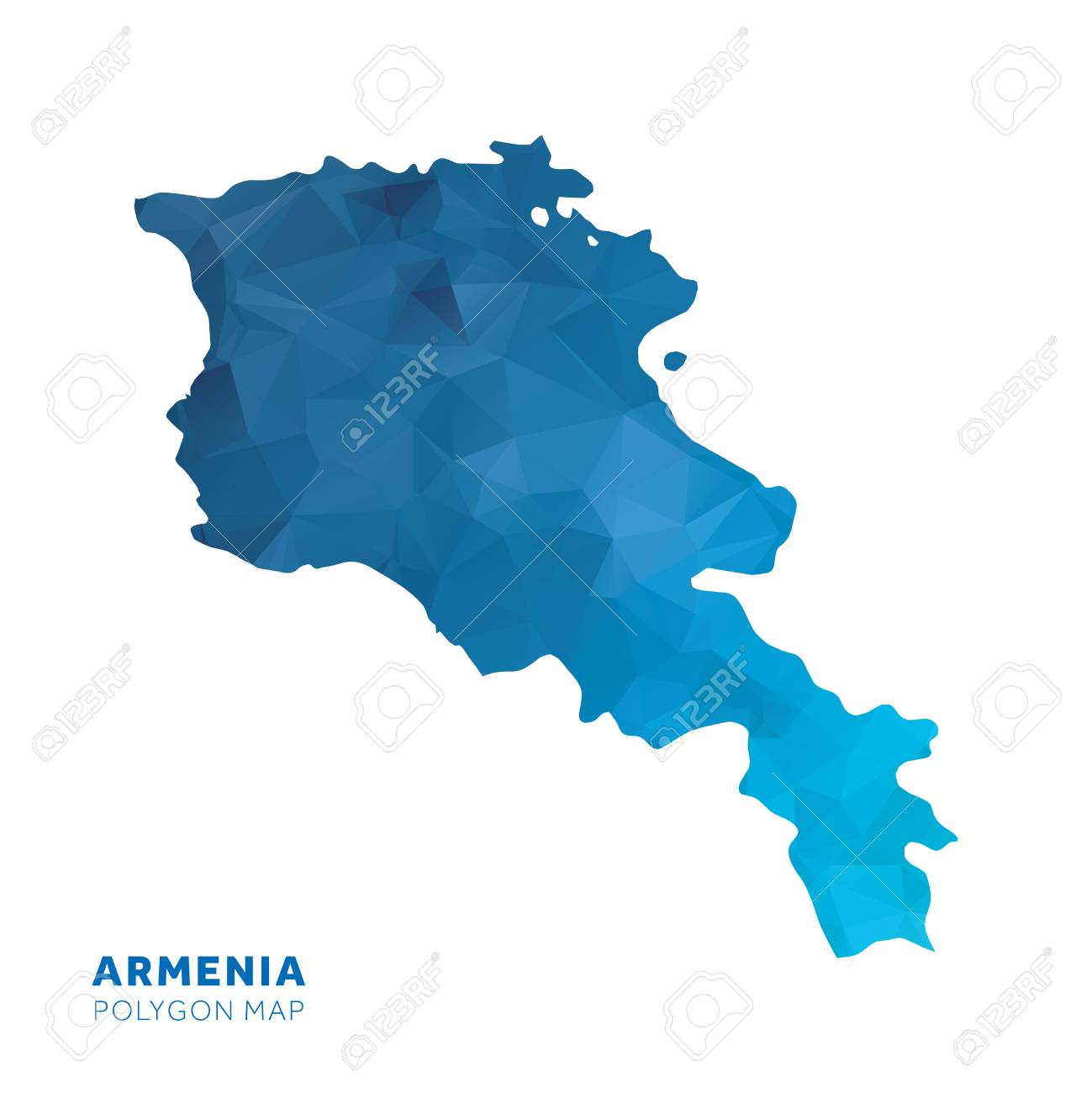 Map Of Armenia. Blue Geometric Polygon Map. Lizenzfreie Fotos ...