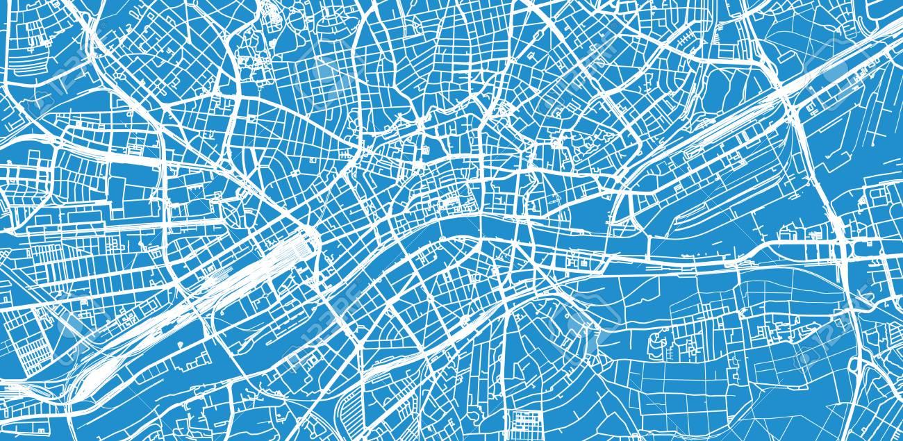 Urban Vector City Map Of Frankfurt, Germany Lizenzfreie Fotos ...