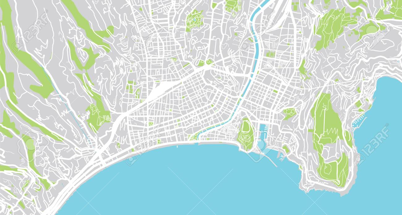 Urban Vector City Map Of Nice France Stock Photo Picture And