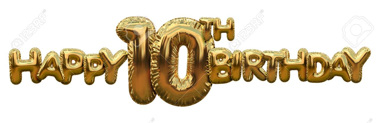 Happy 10th Birthday Gold Foil Balloon Greeting Background 3D Rendering Standard Bild