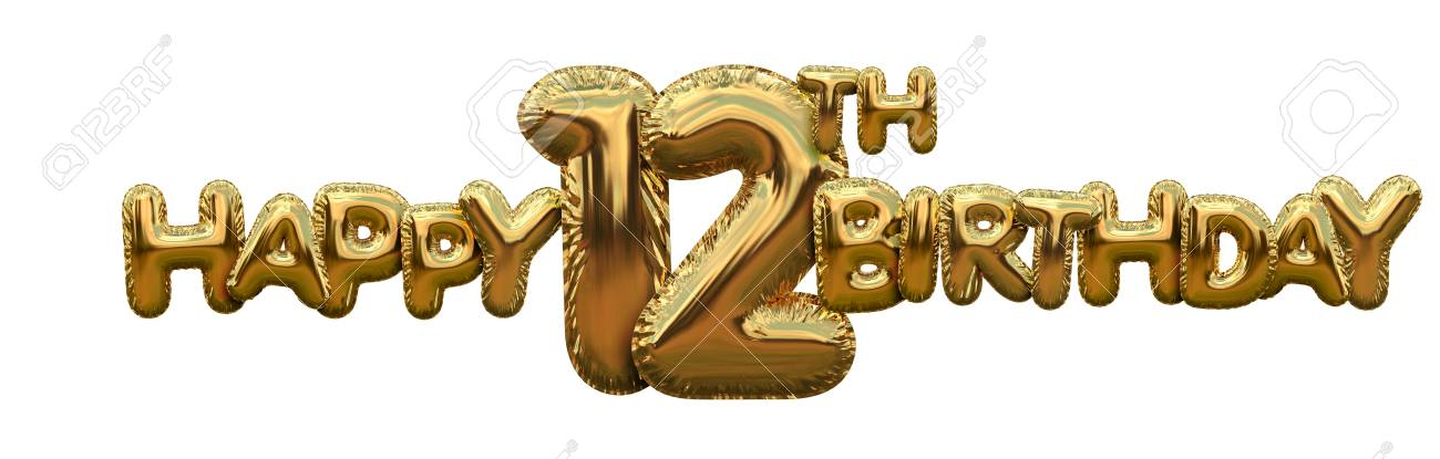 Happy 12th Birthday Gold Foil Balloon Greeting Background 3D Rendering Stock Photo