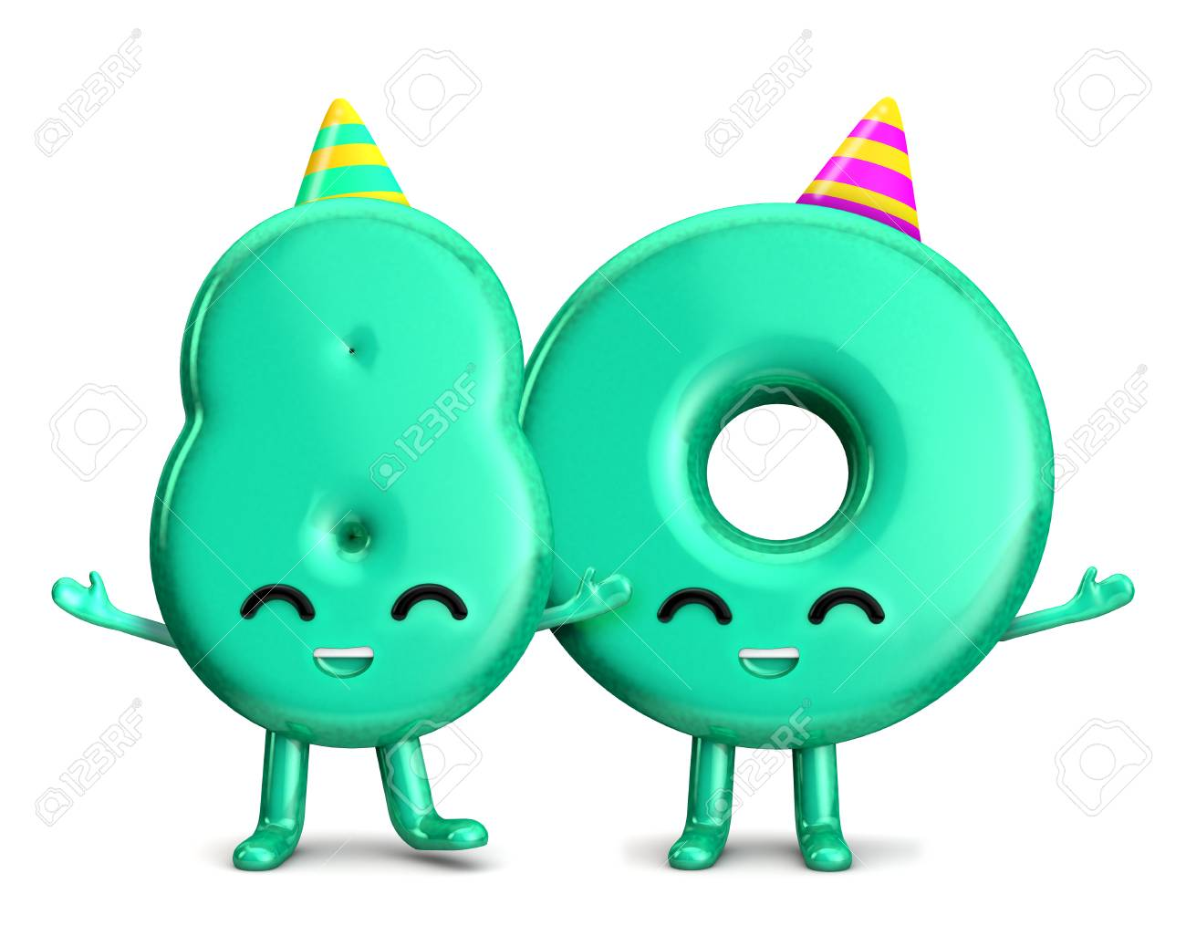 Happy 80th Birthday Cute Party Character With Hat 3D Rendering Stock Photo