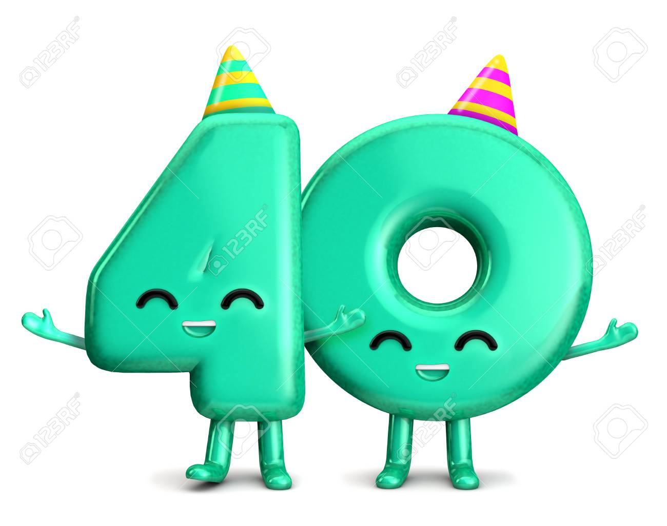 Happy 40th Birthday Cute Party Character With Hat 3D Rendering Stock Photo