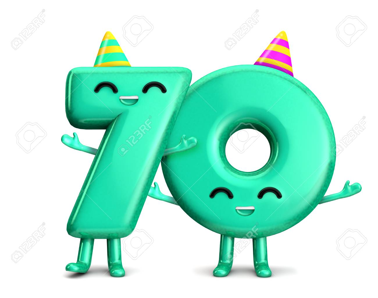 Happy 70th Birthday Cute Party Character With Hat 3D Rendering Stock Photo