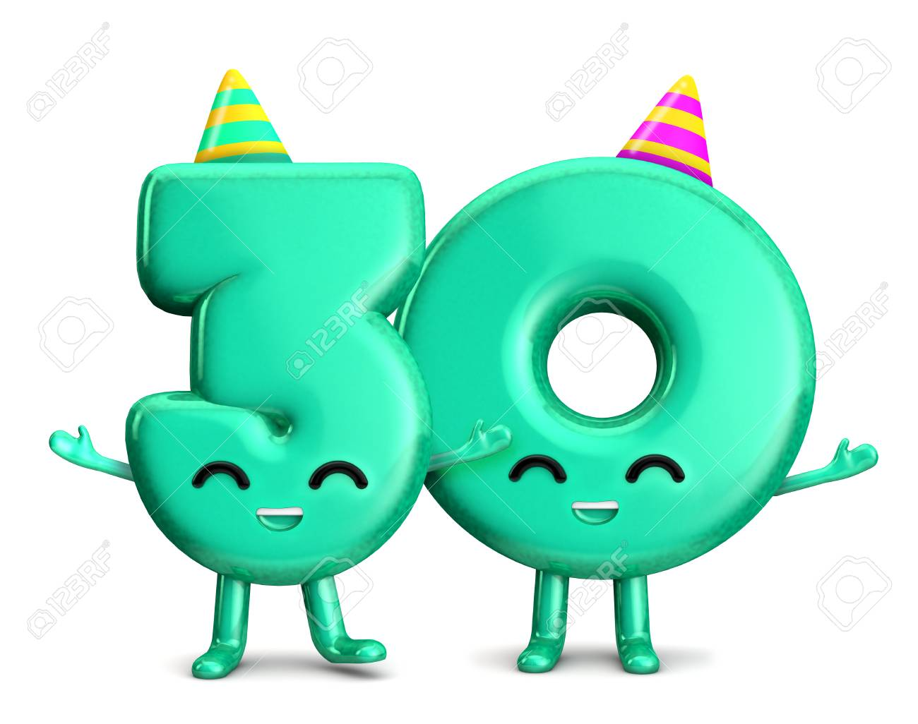 Happy 30th Birthday Cute Party Character With Hat 3D Rendering Stock Photo