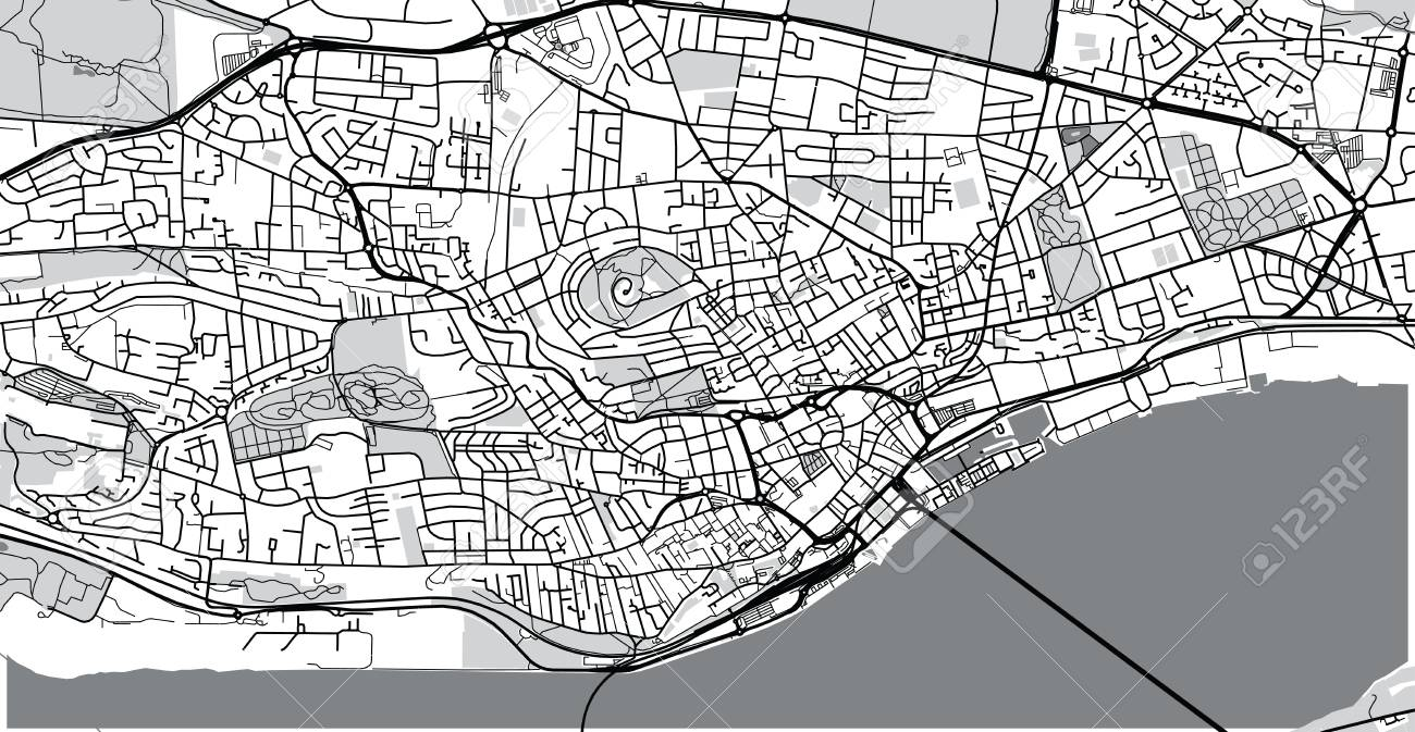 Urban Vector City Map Of Dundee, Scotland Stock Photo, Picture And on