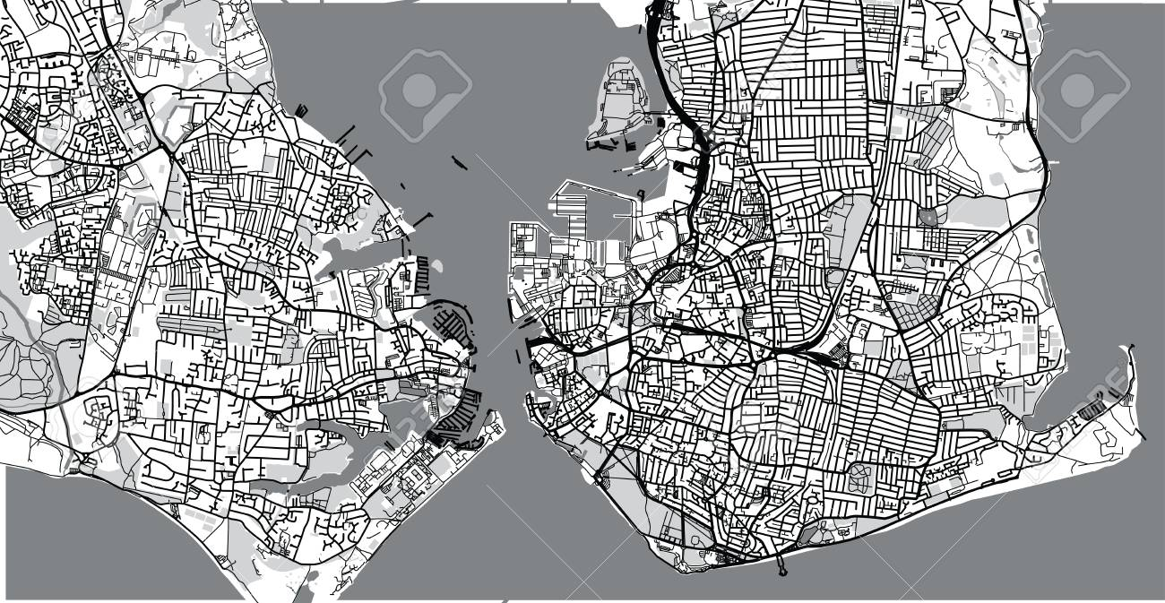 Map Of England Portsmouth.Urban Vector City Map Of Portsmouth England