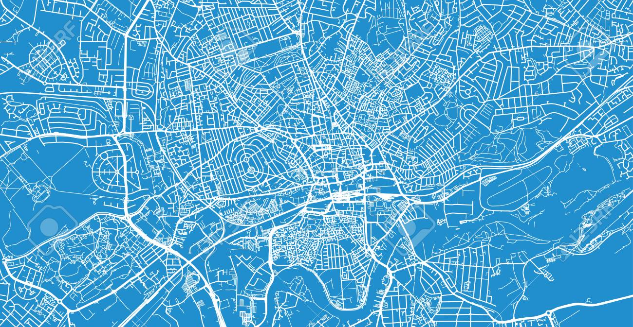 Urban Vector City Map Of Nottingham England Stock Photo Picture