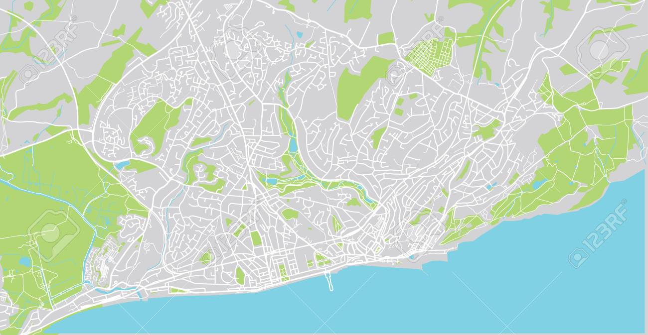 Urban Vector City Map Of Hastings England Stock Photo Picture And
