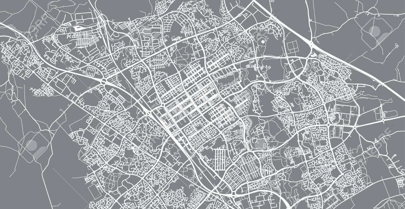 Map Of England Milton.Urban Vector City Map Of Milton Keynes England