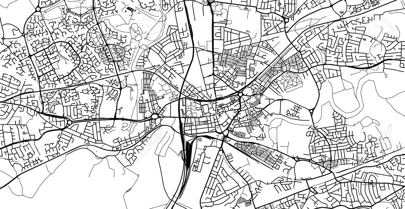 Urban vector city map of Warrington, England