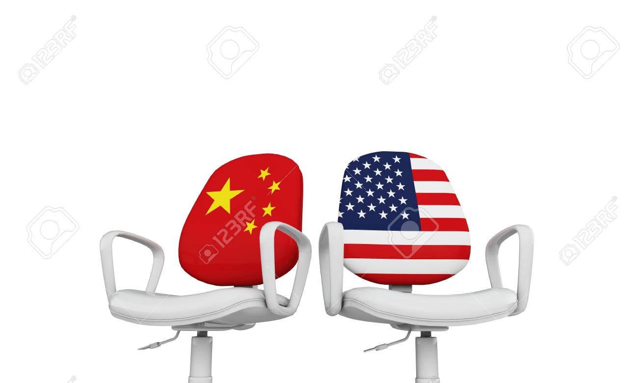 China and USA business chairs. Internationl relationship concept. 3D Rendering - 113341214