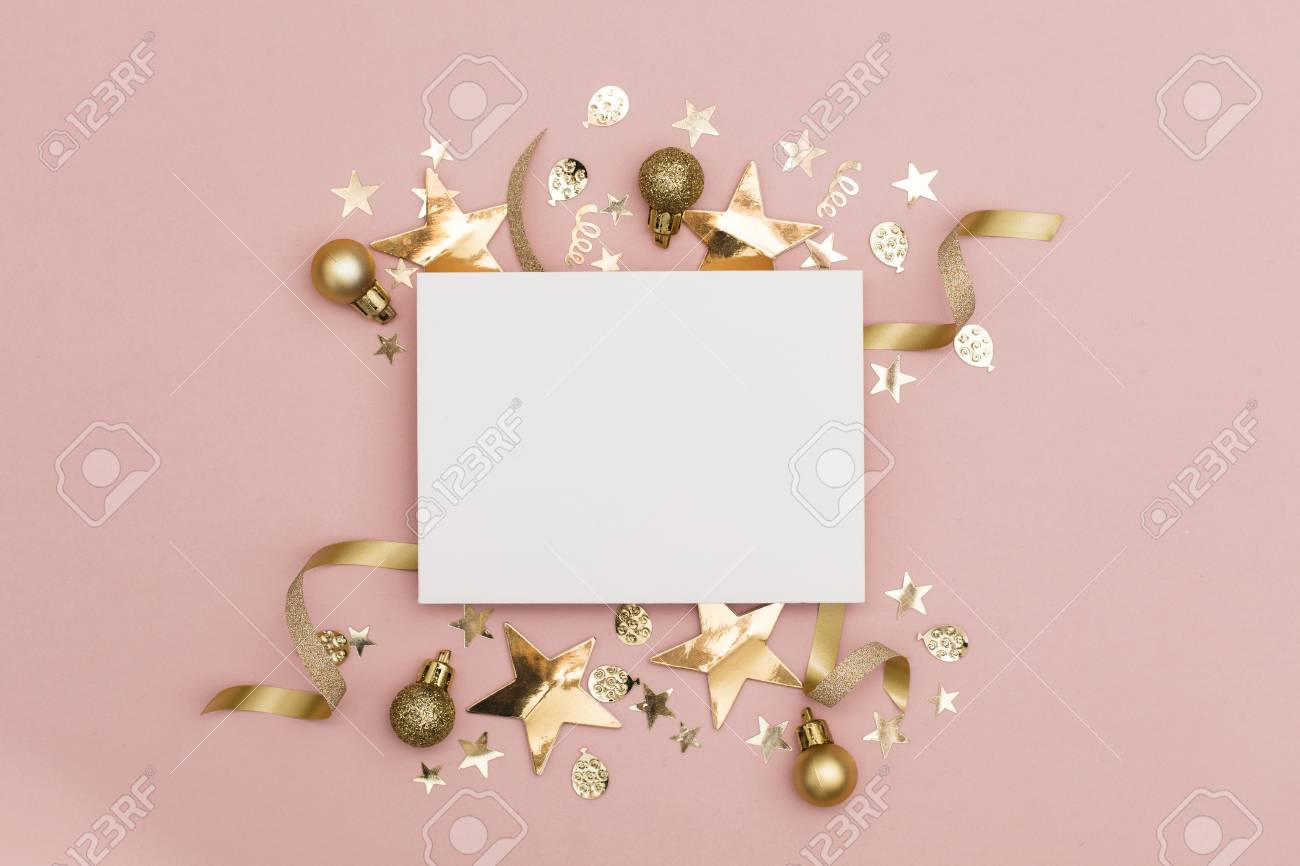 Flat lay party decoration concept on pastel pink background with blank white card - 113393685