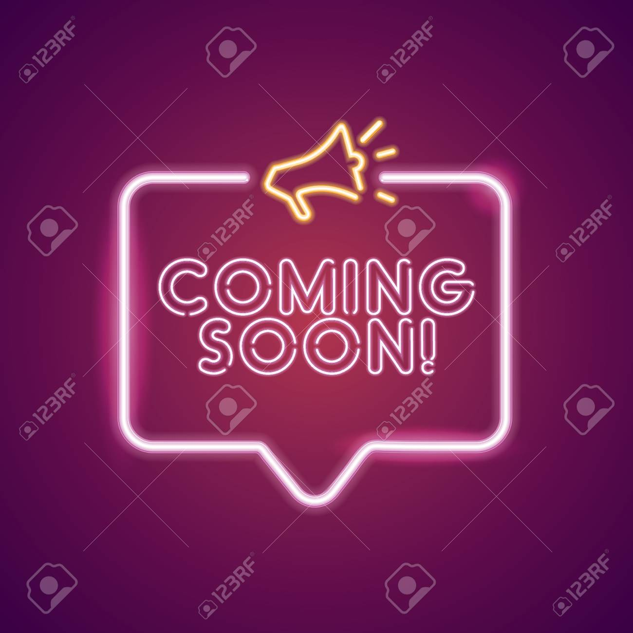 Coming Soon Neon Light Announcement Poster Template Royalty Free Cliparts Vectors And Stock Illustration Image 126867218