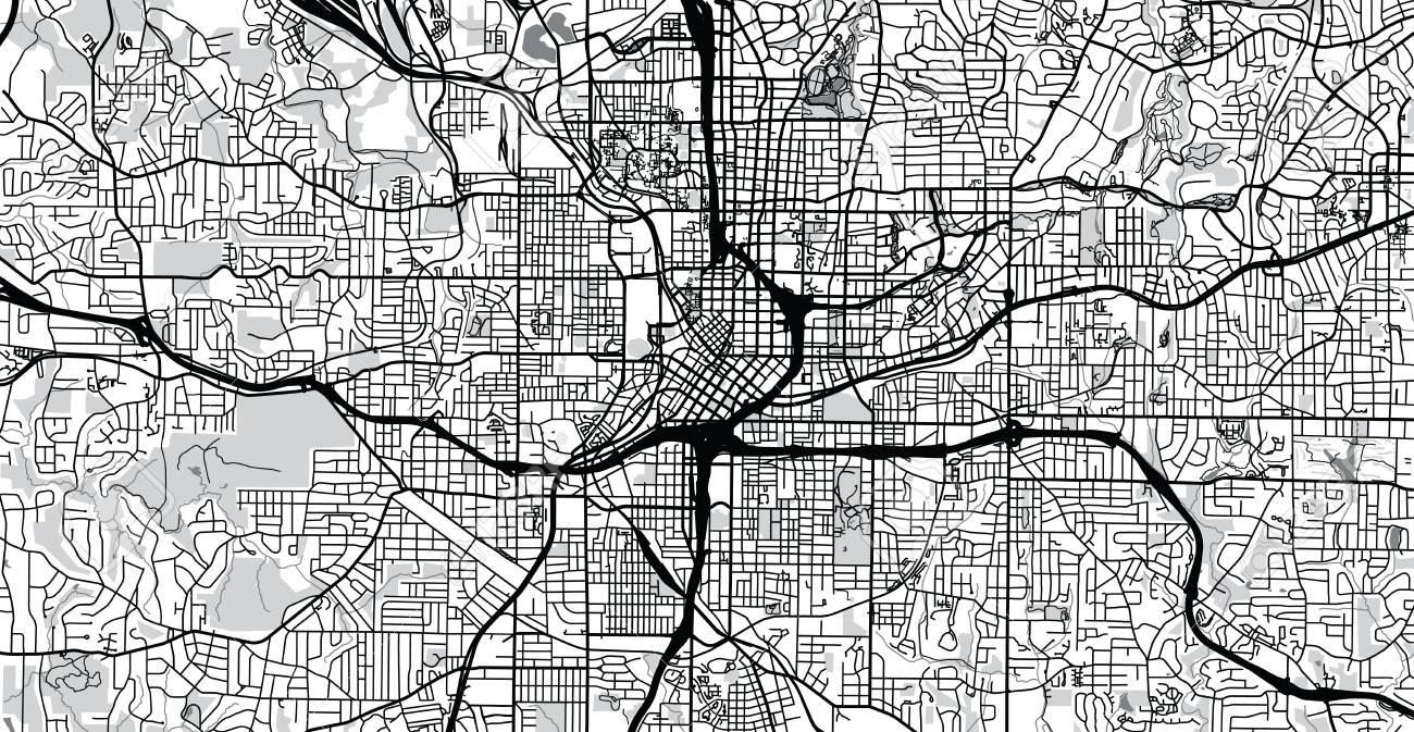 City Map Of Atlanta Georgia.Urban Vector City Map Of Atlanta Georgia United States Of America