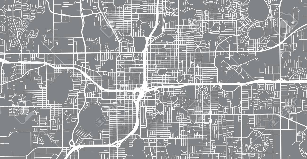 Orlando Florida On Us Map.Urban Vector City Map Of Orlando Florida United States Of America