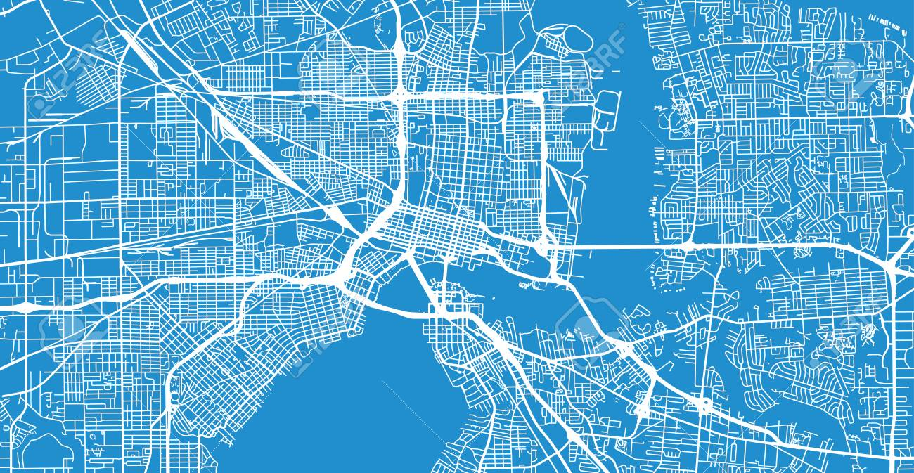 Urban vector city map of Jacksonville, Florida, United States..