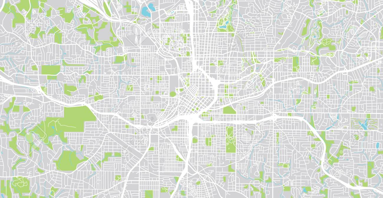 Map Of Georgia United States.Urban Vector City Map Of Atlanta Georgia United States Of America