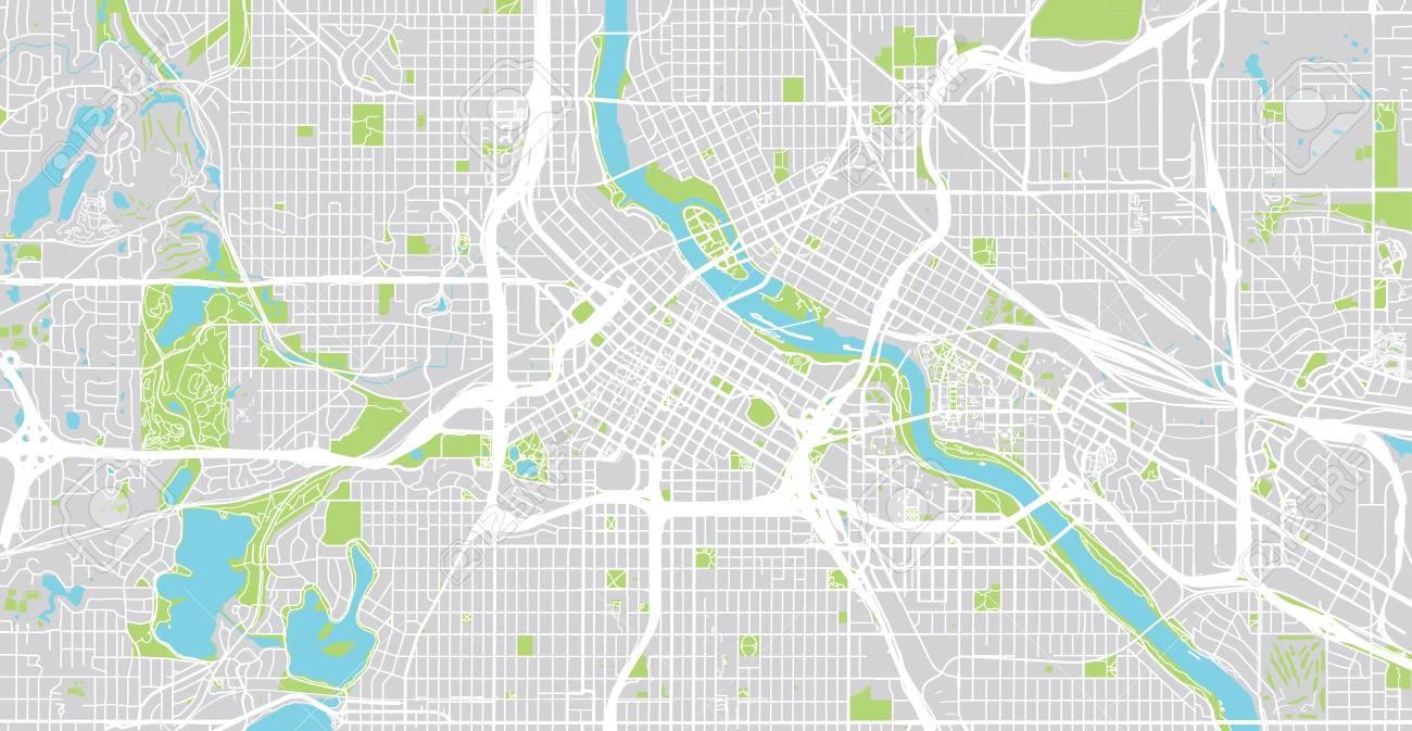 Urban vector city map of Minneapolis, Minnesota, United States of America - 117235202