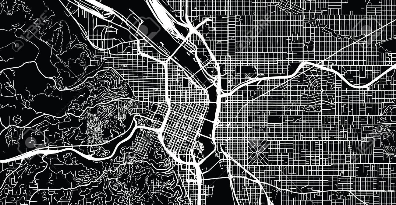 Urban vector city map of Portland, Oregon, United States of America