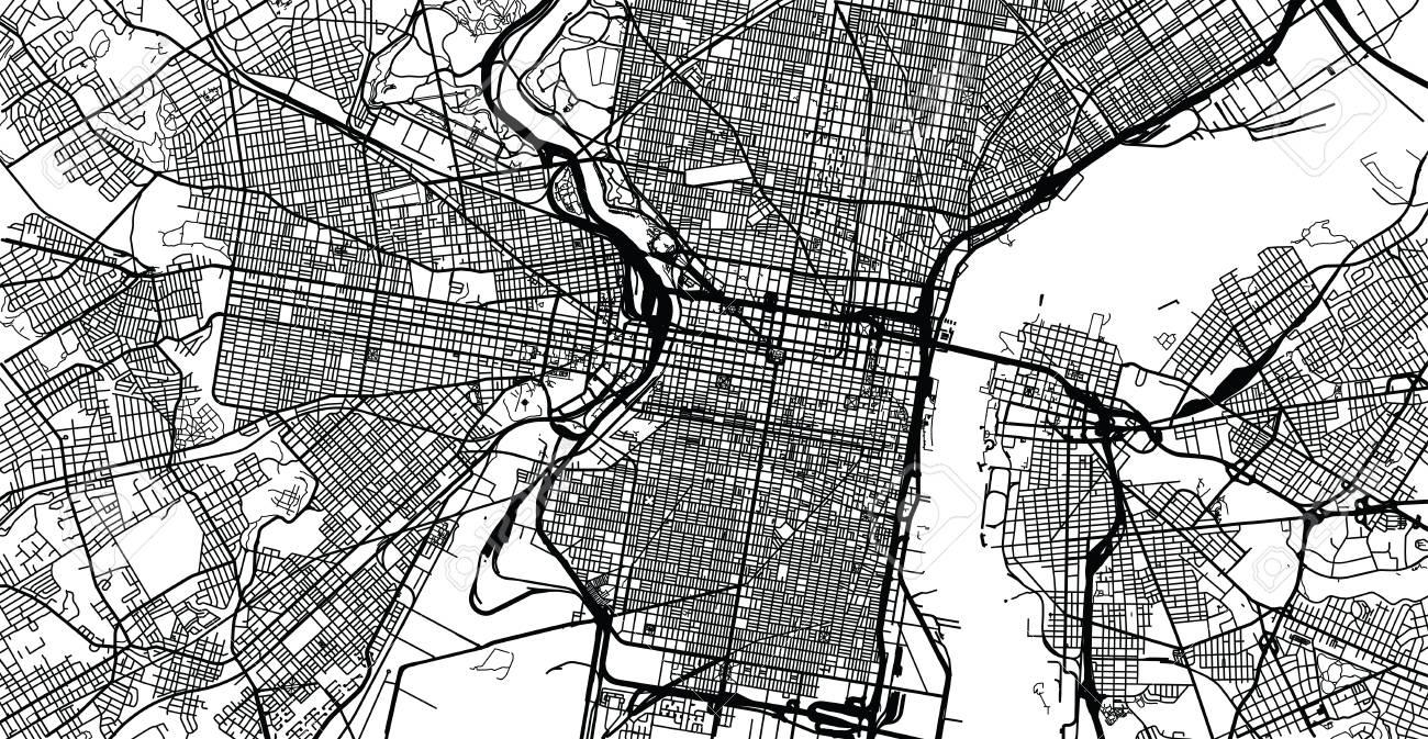 Urban vector city map of Philadelphia, Pennsylvania, United States..