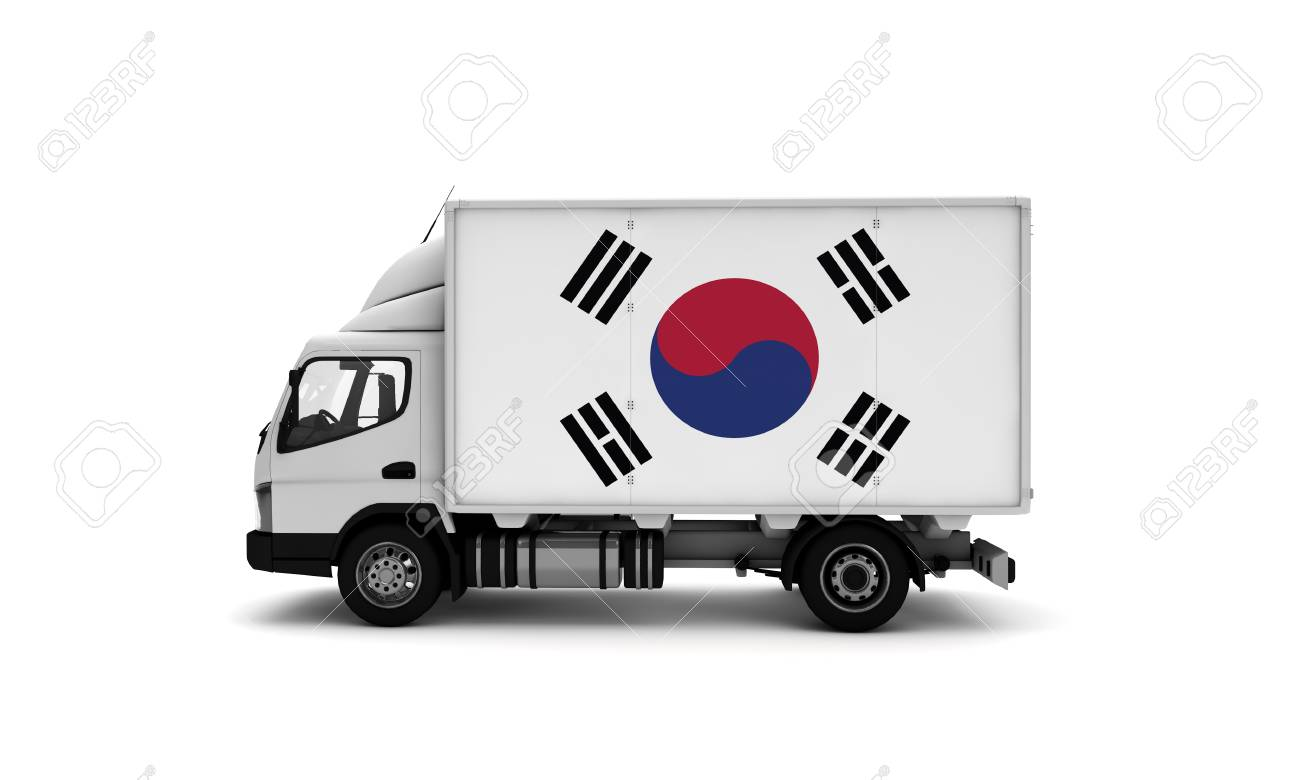 Delivery van with South Korea flag  logistics concept