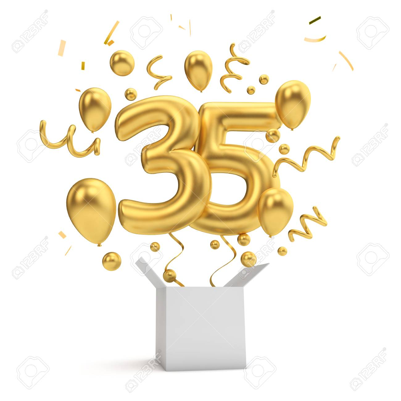 Happy 35th Birthday Gold Surprise Balloon And Box 3D Rendering Stock Photo