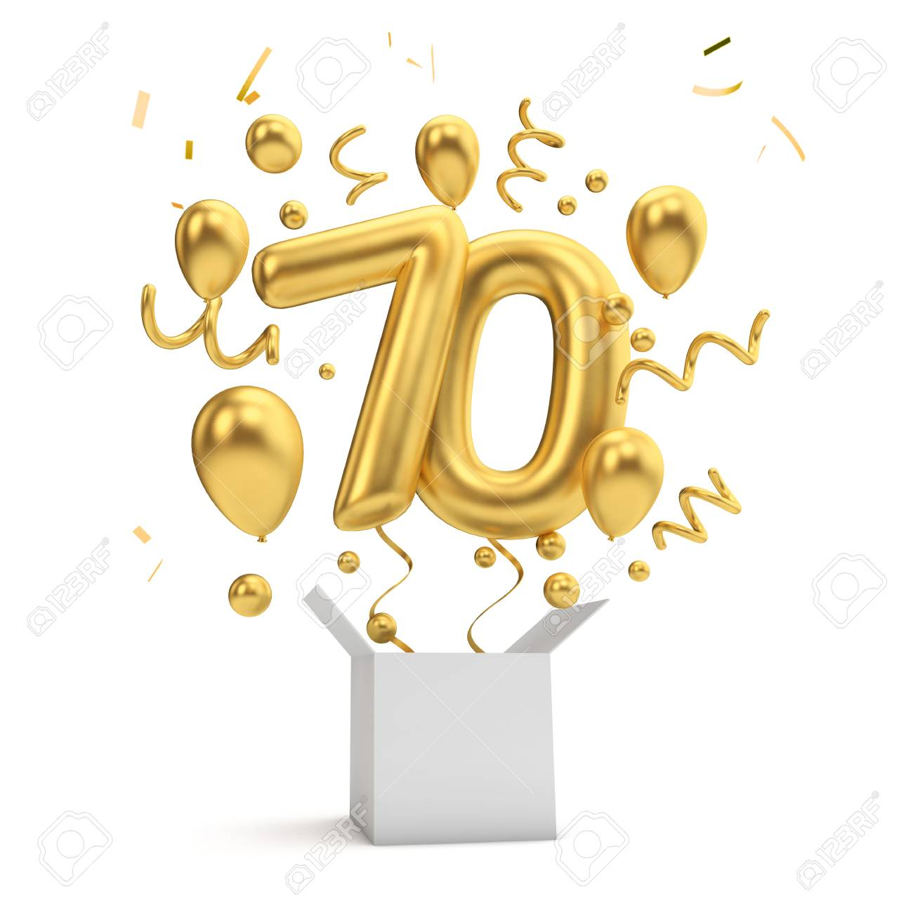 Happy 70th Birthday Gold Surprise Balloon And Box 3D Rendering Stock Photo