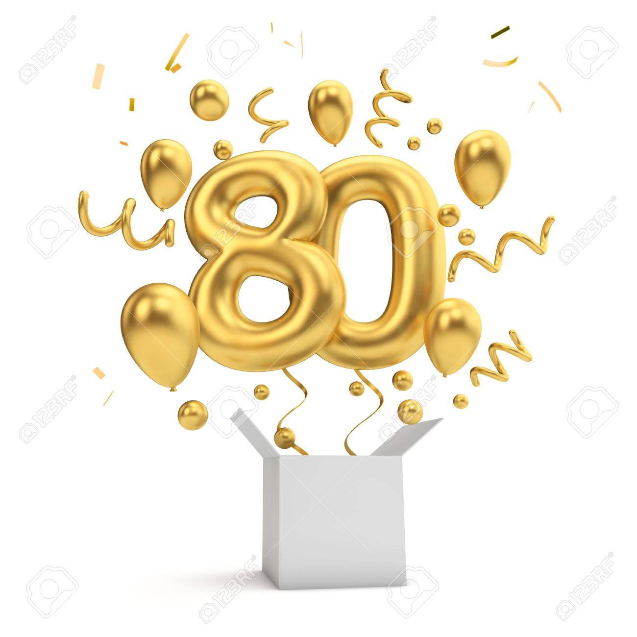Happy 80th Birthday Gold Surprise Balloon And Box 3D Rendering Stock Photo