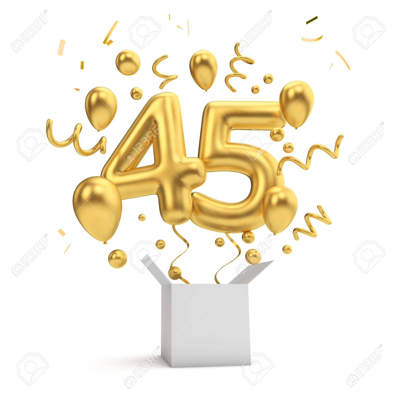 Happy 45th Birthday Gold Surprise Balloon And Box 3D Rendering Standard Bild