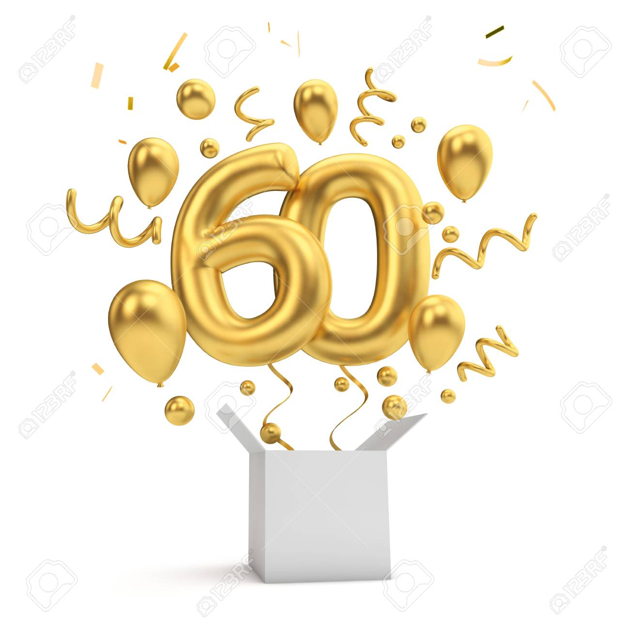 Happy 60th Birthday Gold Surprise Balloon And Box 3d Rendering Stock Photo Picture And Royalty Free Image Image 116483127