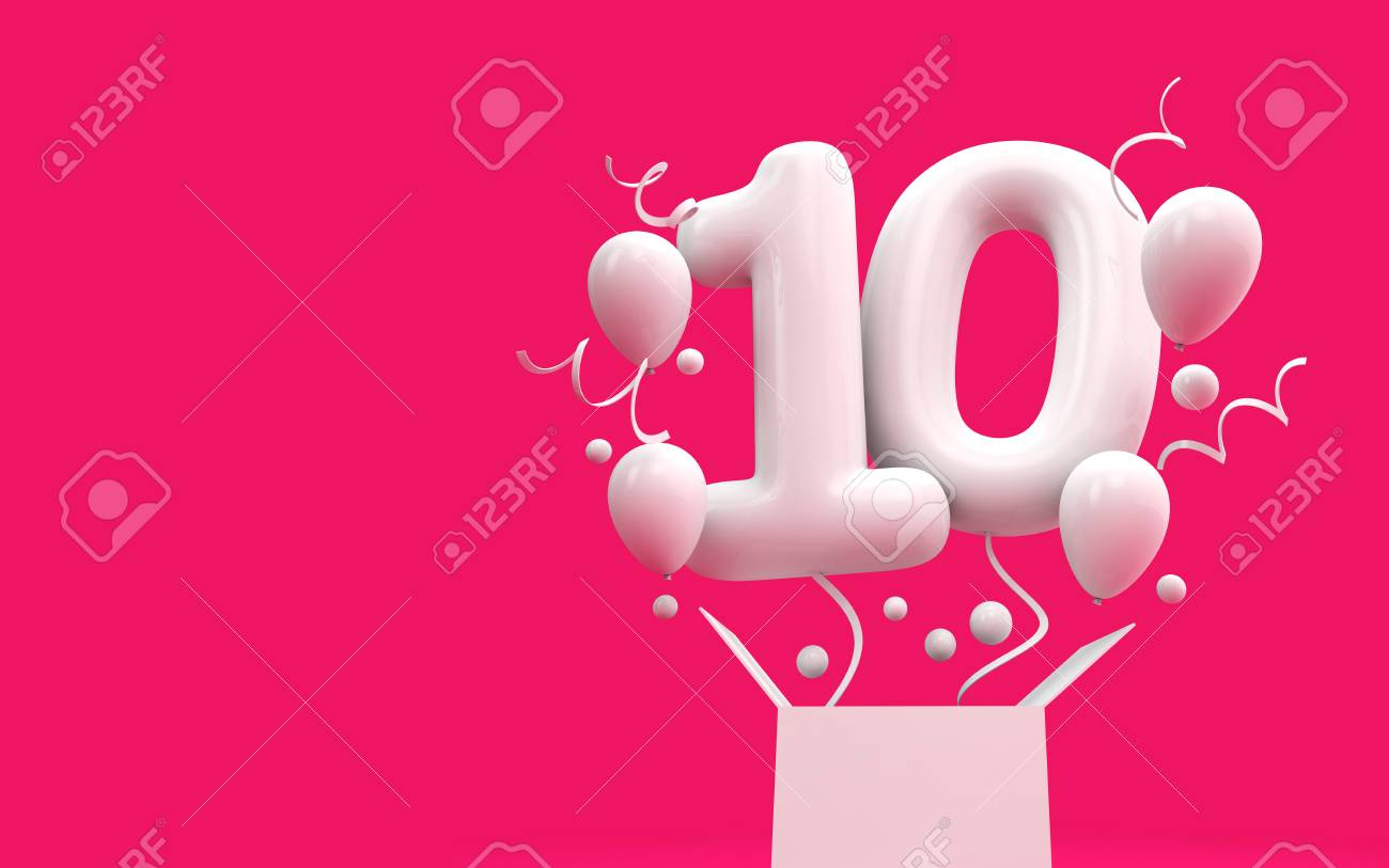 Happy 10th Birthday Surprise Balloon And Box 3D Rendering Stock Photo