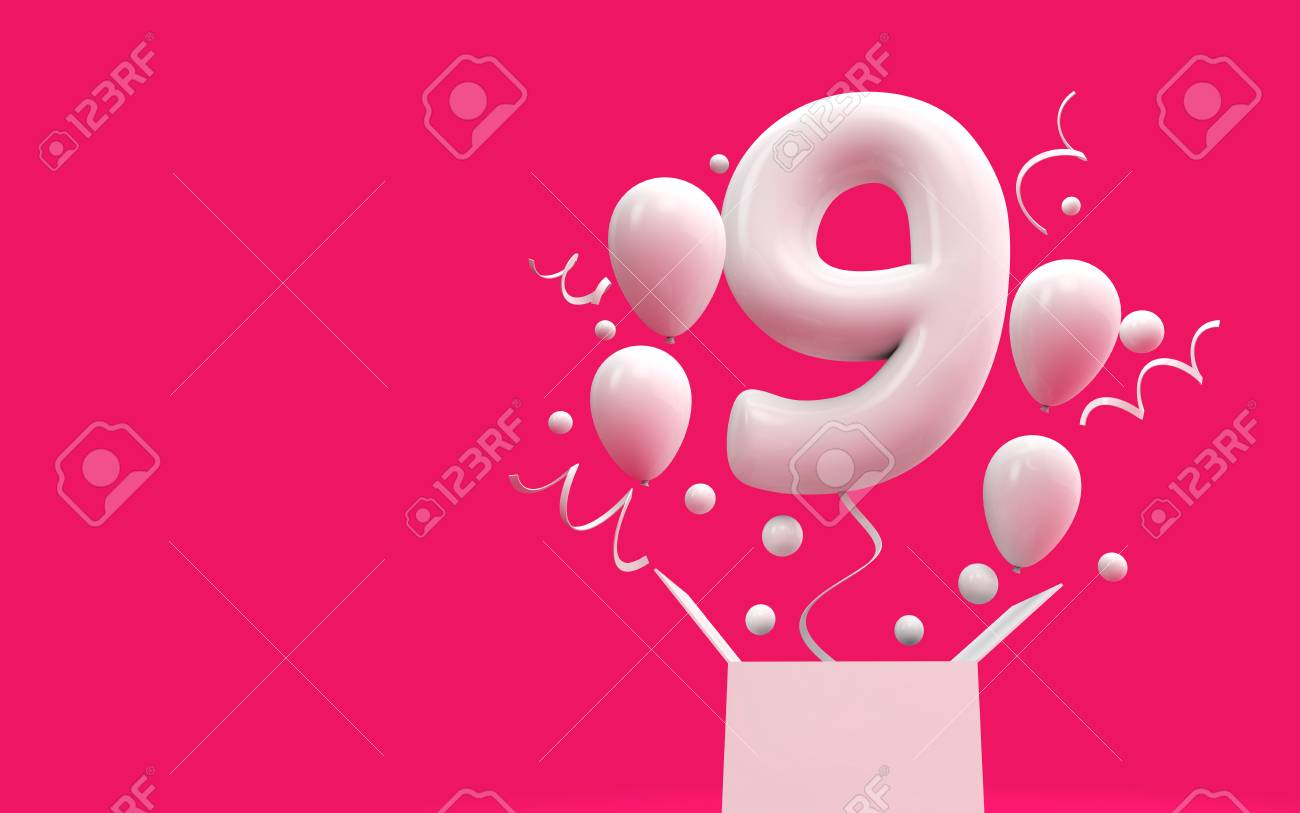 Happy 9th Birthday Surprise Balloon And Box 3D Rendering Stock Photo