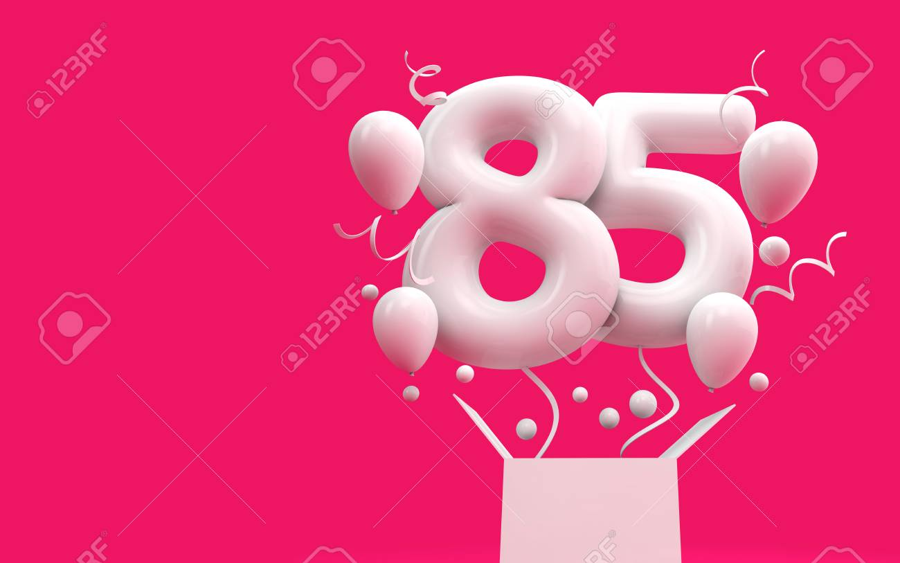 Happy 85th Birthday Surprise Balloon And Box 3D Rendering Stock Photo