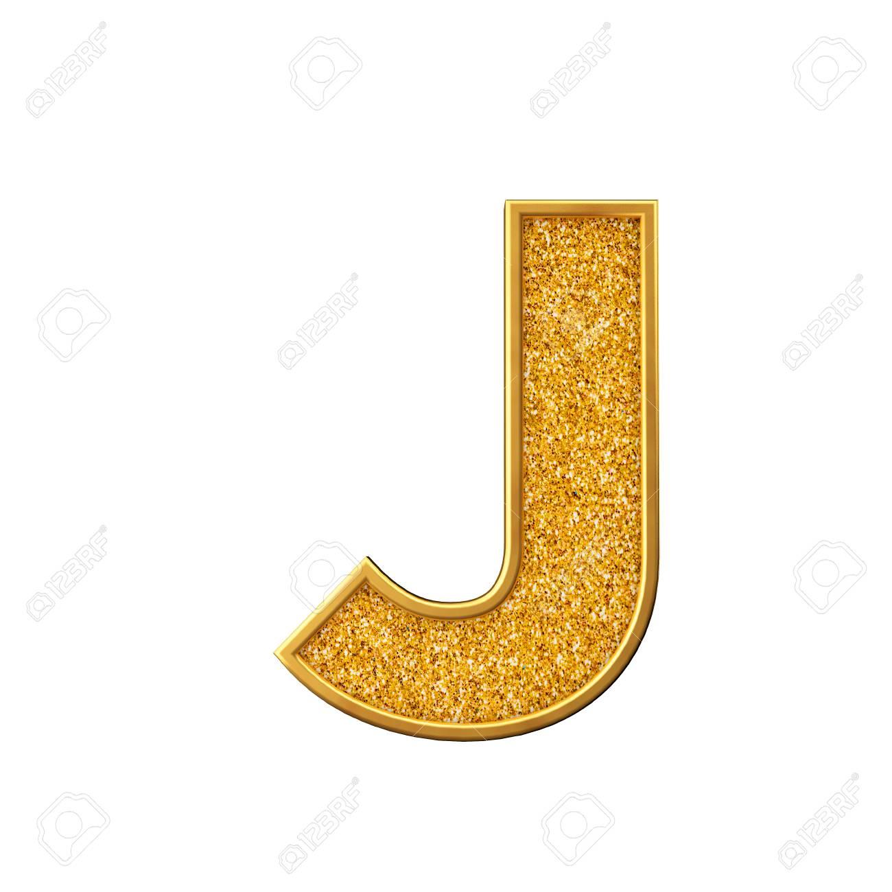 Gold glitter letter J  Shiny sparkling golden capital letter