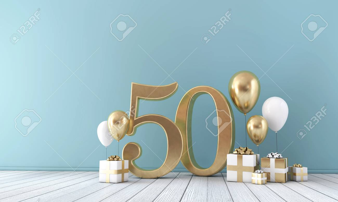 Number 50 party celebration room with gold and white balloons and gift boxes. - 119526943