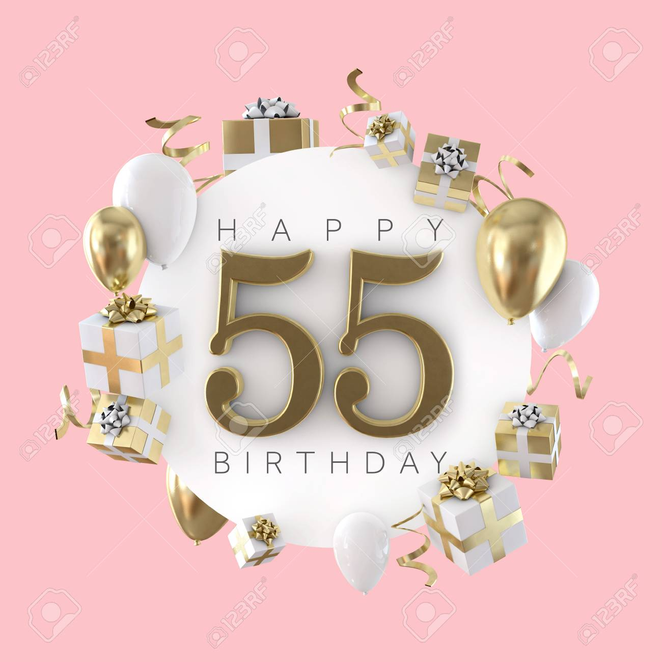 Happy 55th Birthday Party Composition With Balloons And Presents 3D Render Standard Bild
