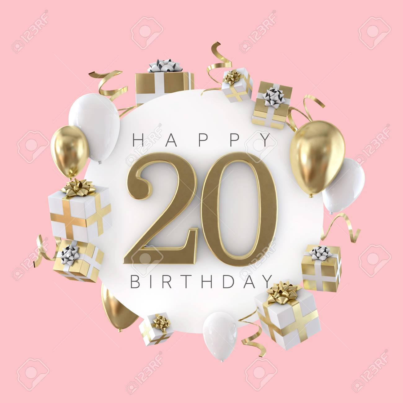 Happy 20th Birthday Party Composition With Balloons And Presents 3D Render Stock Photo